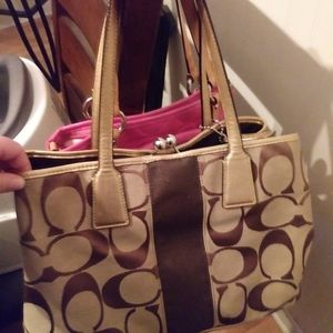 Large Tan and Brown Coach Purse